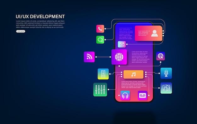 분해된 인터페이스가 있는 휴대폰. 사용자 경험, 전자 상거래의 사용자 인터페이스. 모바일 앱용 웹사이트 와이어프레임