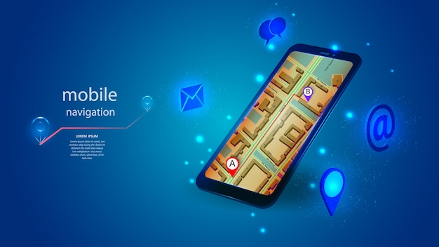 A mobile phone with an application for mobile navigation. science, futuristic, web, network concept, communications, high technology.