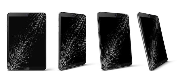 깨진 화면 전면 및 측면보기, 박살 된 스마트 폰, 긁힘과 균열로 덮여있는 검은 색 터치 스크린이있는 부서진 전자 장치, 현실적인 3d 벡터 일러스트, 세트가있는 휴대 전화