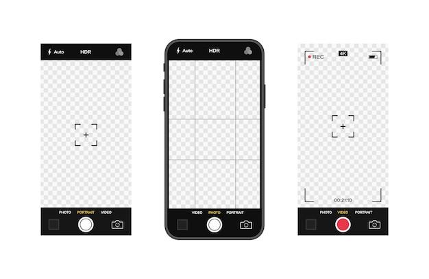 カメラインターフェイスを備えた携帯電話。モバイルアプリアプリケーション。写真とビデオ画面。イラストグラフィック。