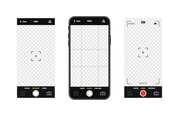 Mobile phone with camera interface. mobile app application. photo and video screen.  illustration graphic .