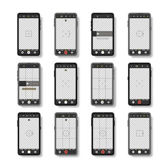 Мобильный телефон с интерфейсом камеры Premium векторы