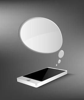 Мобильный телефон с окном чата.