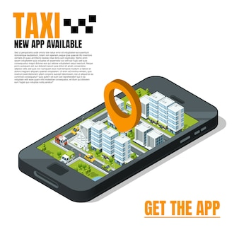 Mobile phone with city landscape. online taxi advertising template