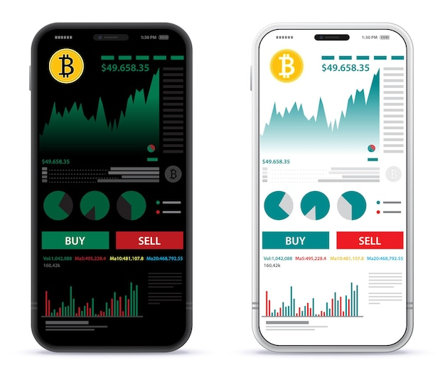 Mobile phone with cryptocurrency online trading and finance app screen ui design template