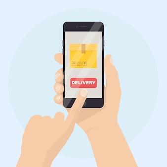 Мобильный телефон с иллюстрацией приложения службы доставки