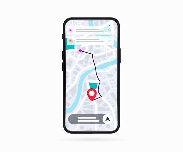 스마트폰 화면에 포인트 gps 내비게이션 앱이 있는 디지털 gps 내비게이션 지도가 있는 휴대전화