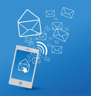 Mobile phone with email icon
