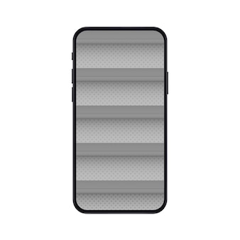 Mobile phone with empty shelves for online store mockup