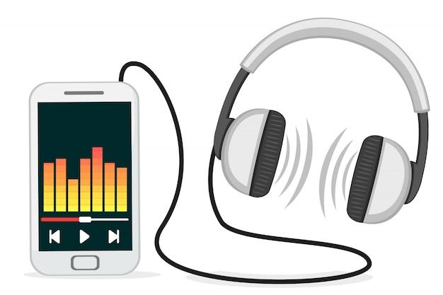 白い背景の上にヘッドフォンと携帯電話。イコライザーで音楽が再生されます。