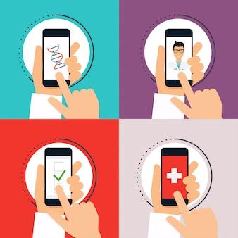 手で開く健康アプリケーション付き携帯電話。ベクター近代的な創造的なフラットなデザイン。