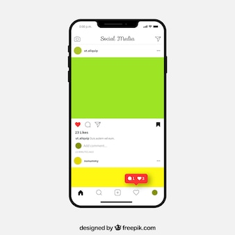 Mobile phone with instagram post template and notifications