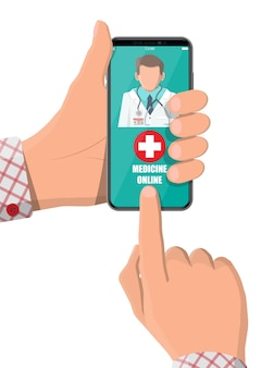 Mobile phone with internet pharmacy shopping app. pills and bottles, medicine online. medical assistance, help, support online. health care application on smartphone. vector illustration in flat style