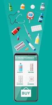 인터넷 약국 쇼핑 앱이있는 휴대 전화. 알약 약물의 집합입니다. 의료 지원, 도움