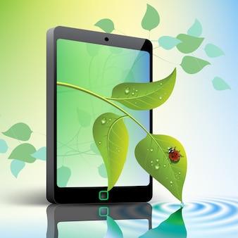 Мобильный телефон с листьями и концепции зеленой окружающей среды божья коровка