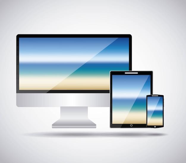 Мобильный телефон с подсветкой абстрактного экрана на белом фоне