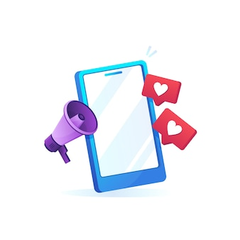 Mobile phone with like sign and megaphone icon in gradient design