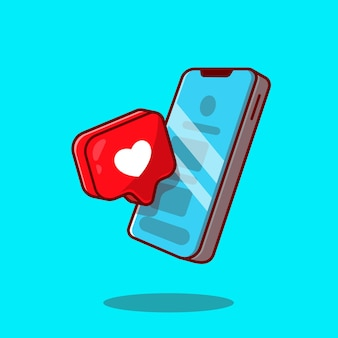 Mobile phone with love sign cartoon icon illustration.