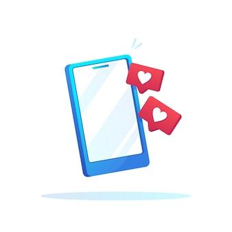 グラデーションデザインの愛のサインアイコンと携帯電話