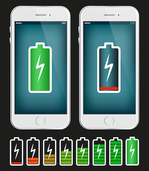 Mobile phone with low and full battery