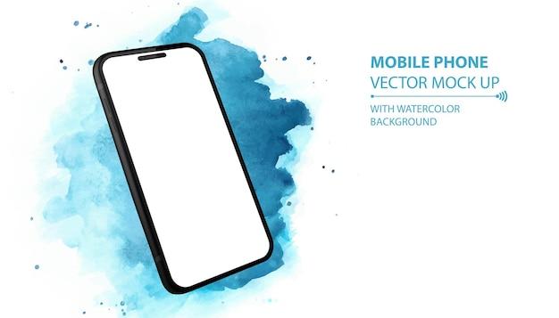 Мобильный телефон с перспективой. черный смартфон изолированные