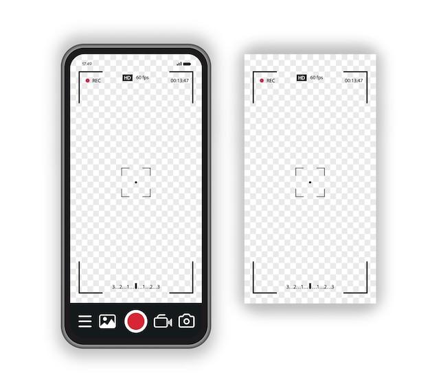 비디오용 레코드 프레임 카메라 개념 뷰파인더 템플릿 화면 사진 프레임이 있는 휴대폰