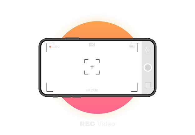 Mobile phone with record frame camera. viewfinder template. k phone resolution video rec frame. video recording screen.  graphic .