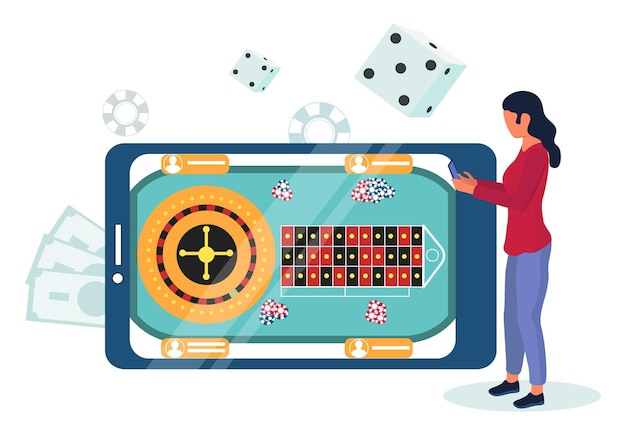 Mobile phone with roulette wheel, chips on screen. woman playing casino mobile games online, flat vector illustration.