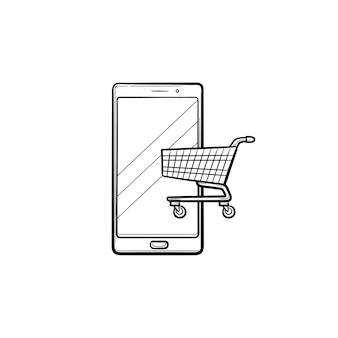 화면 손으로 그린 개요 낙서 아이콘에 쇼핑 카트가 있는 휴대 전화. 앱 상점, 전자 상거래, 온라인 개념. 인쇄, 웹, 모바일 및 흰색 배경에 인포 그래픽에 대한 벡터 스케치 그림.