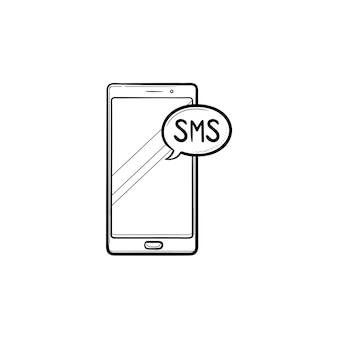 Sms 거품 손으로 그린 개요 낙서 아이콘 휴대 전화. sms 채팅 및 통신, 문자 메시지 개념입니다. 인쇄, 웹, 모바일 및 흰색 배경에 인포 그래픽에 대한 벡터 스케치 그림.