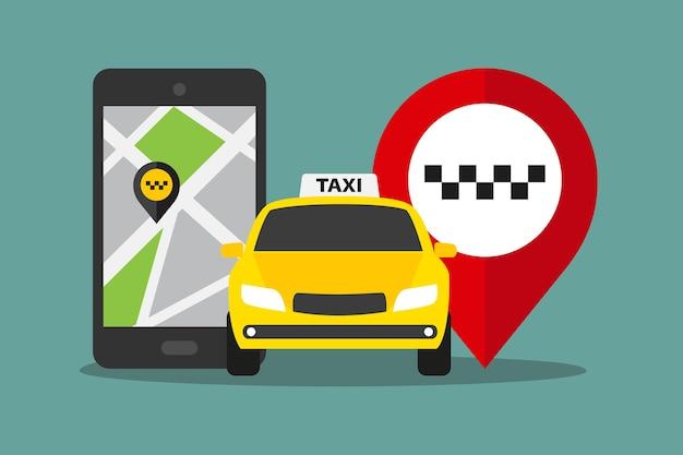 디스플레이에 택시 앱, 택시 자동차 및 핀 마크가있는 휴대 전화. 평면 스타일의 택시 서비스 그림