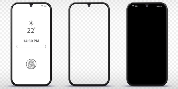 Mobile phone with transparent black and lock screen