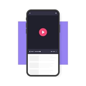 Мобильный телефон с видеоплеером. мобильное приложение для воспроизведения видео. концепция социальных сетей. видеоконференция, стриминг, ведение блога.