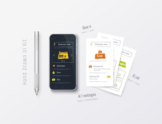 웹 애플리케이션이 있는 휴대폰 handdrawn ux ui 키트 사용자 경험