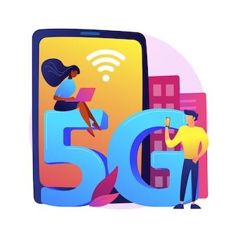 Illustrazione di concetto astratto di rete di telefoni cellulari 5g. comunicazione con telefono cellulare, smartphone moderno, tecnologia 5g, connessione internet veloce, provider di copertura di rete.