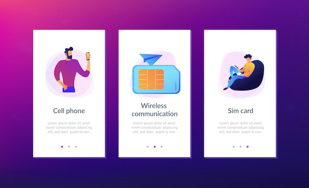 携帯電話カードアプリのインターフェイステンプレート。