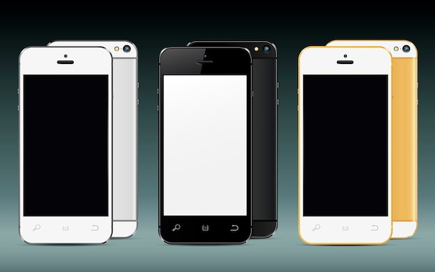 Mobile phones front and back with blank screen