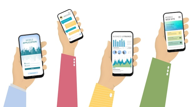 Mobile phones in hand with different app ui screens