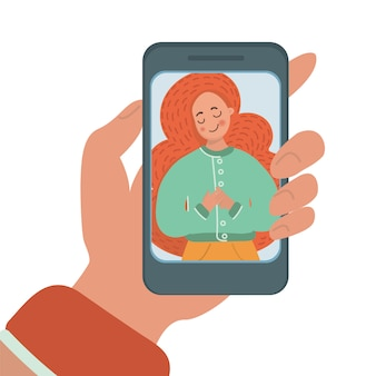 Mobile photo fla illustration set about girl make selfie for social media