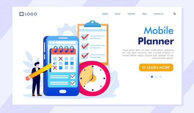 Mobile planner landing page website illustration vector
