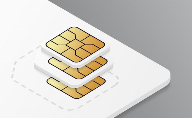 モバイルプラスチックsimカードモックアップ。