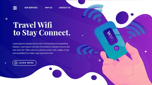 Mobile portable travel wifi web page