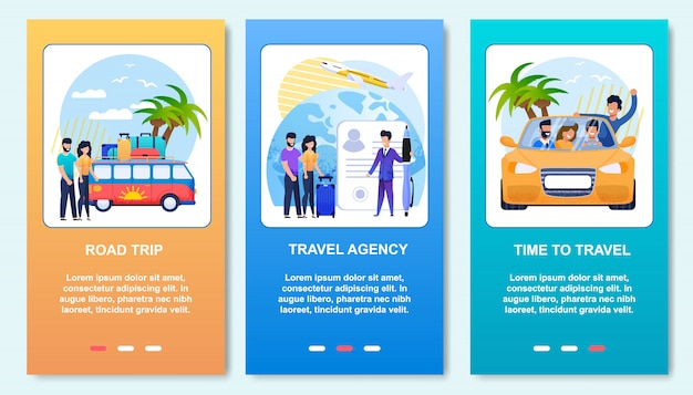 Mobile posts cartoon cards summer vacation flat set. road trip, travel agency and car friends journey.