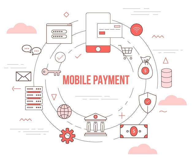 Концепция мобильных платежей с шаблоном набора иллюстраций в современном стиле оранжевого цвета
