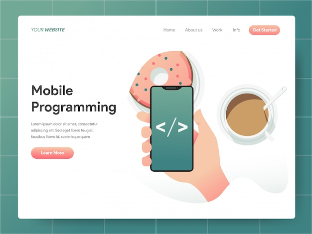 Mobile programming  banner of landing page concept