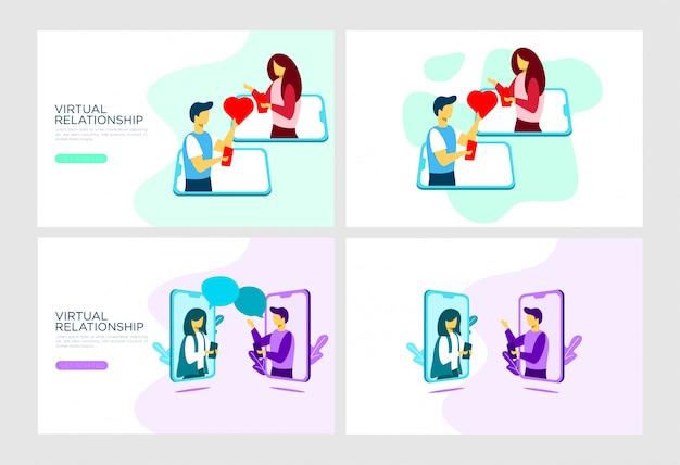 Mobile relationship flat illustration