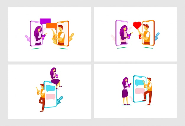 Mobile relationship flat illustration