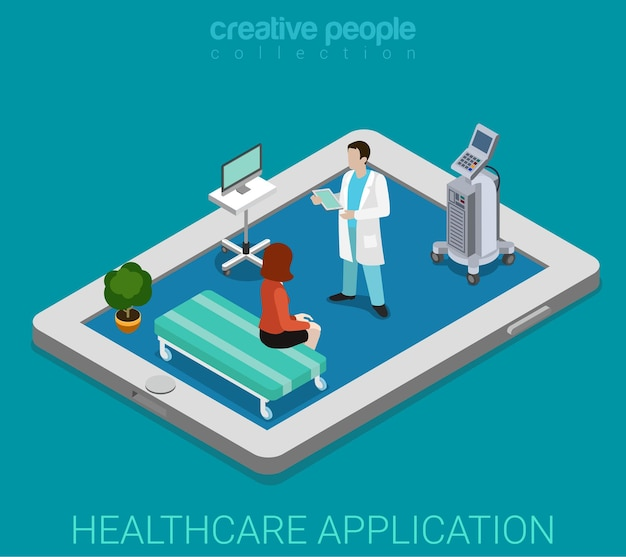 Mobile remote healthcare hospital app flat isometric
