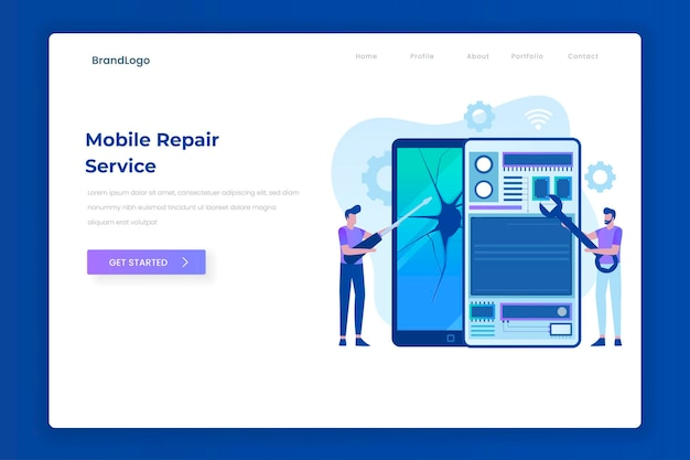 Mobile repair service landing page concept illustration for websites landing pages mobile applications posters and banners