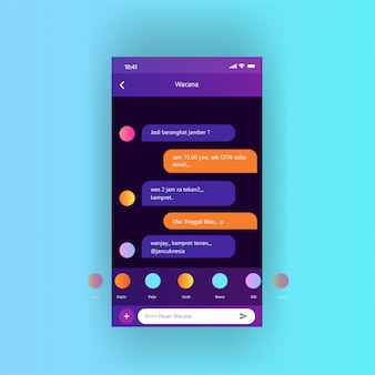 Mobile screen dasboard apps conversation free vector